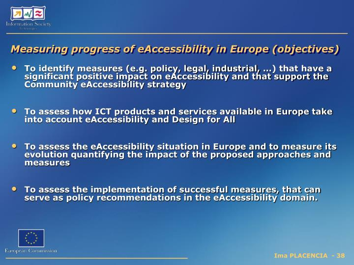 Measuring progress of eAccessibility in Europe (objectives)