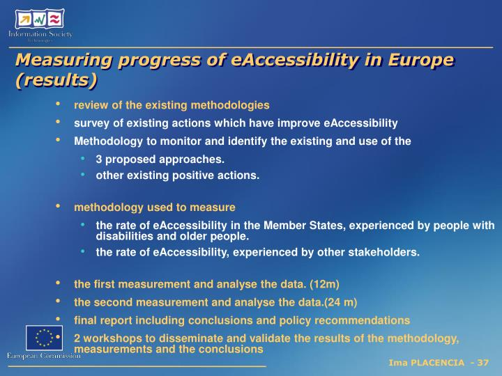 Measuring progress of eAccessibility in Europe (results)