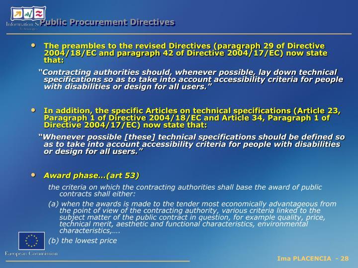 Public Procurement Directives