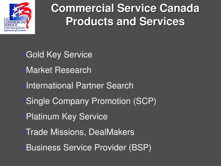 Commercial Service Canada Products and Services