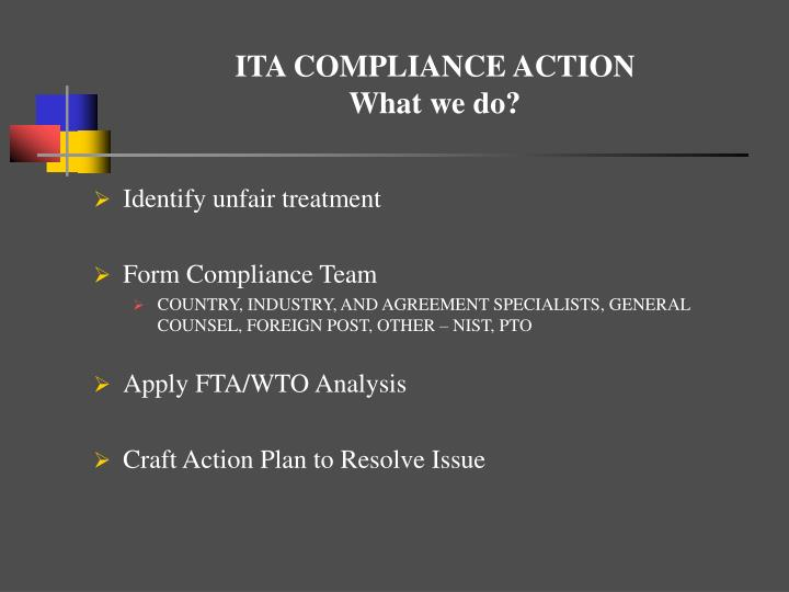 ITA COMPLIANCE ACTION