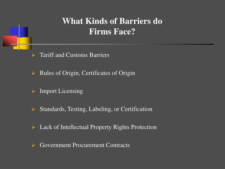 What Kinds of Barriers do