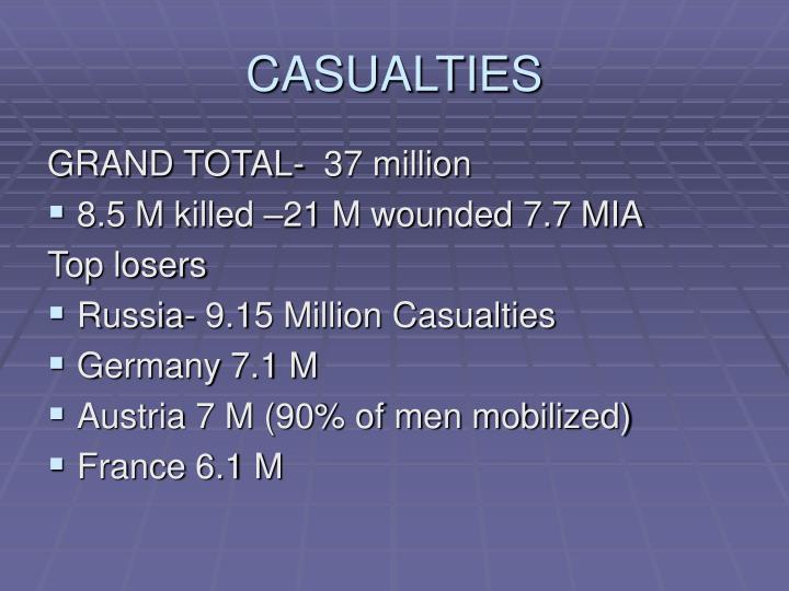 CASUALTIES