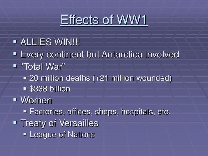 Effects of WW1
