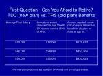 first question can you afford to retire tdc new plan vs trs old plan benefits1