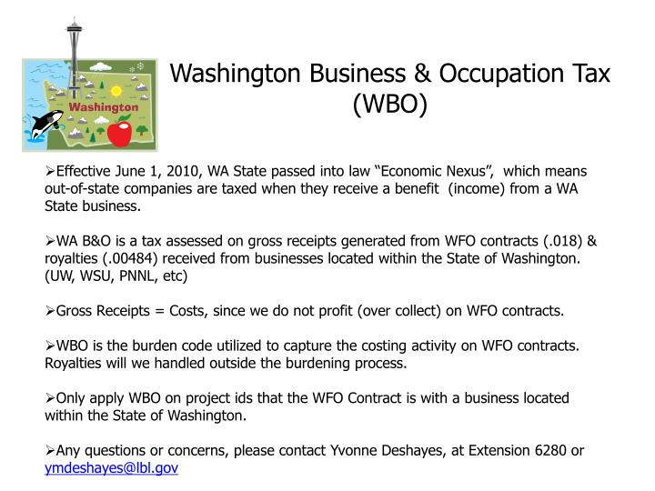 Washington business occupation tax wbo