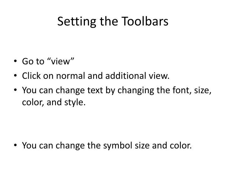 Setting the Toolbars