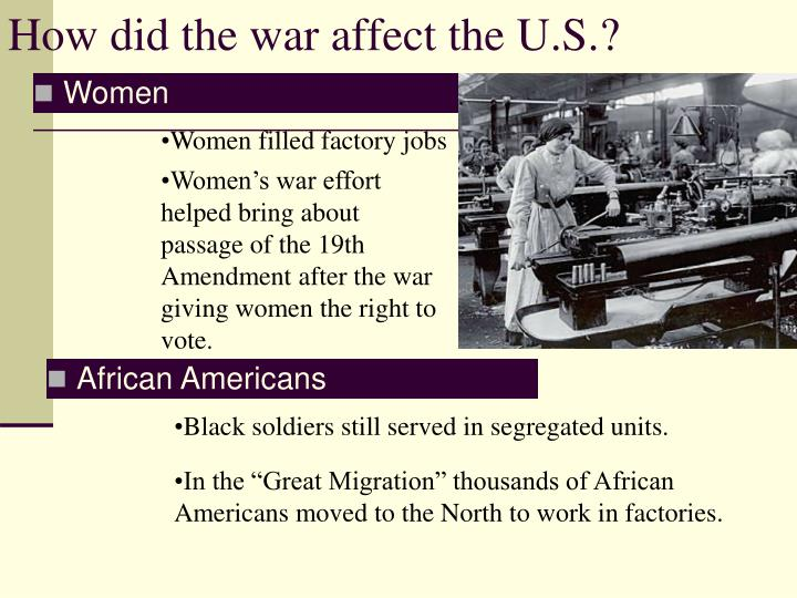 How did the war affect the U.S.?