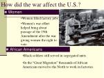 how did the war affect the u s