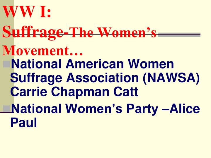 National American Women Suffrage Association (NAWSA) Carrie Chapman Catt