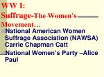 ww i suffrage the women s movement