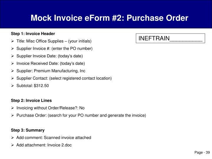 Mock Invoice eForm #2: Purchase Order