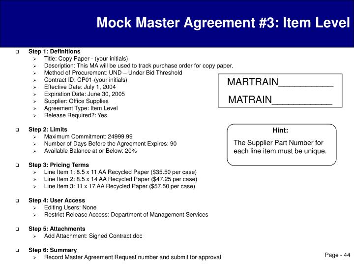 Mock Master Agreement #3: Item Level