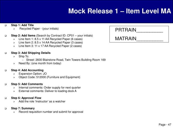 Mock Release 1 – Item Level MA