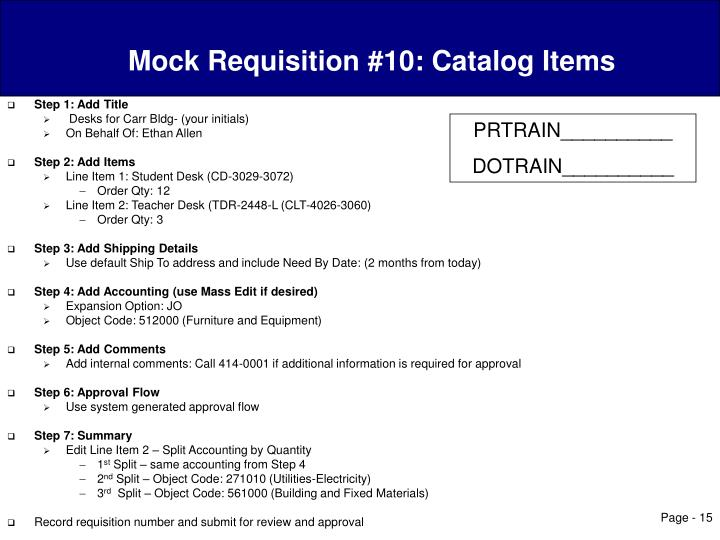 Mock Requisition #10: Catalog Items