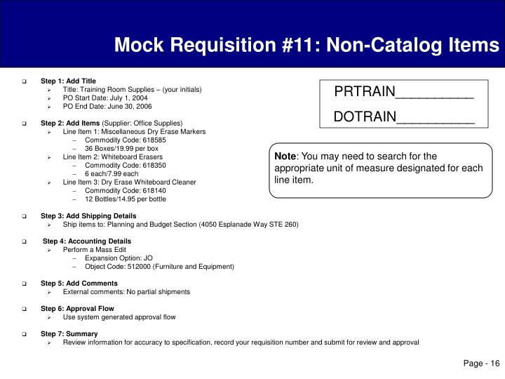 Mock Requisition #11: Non-Catalog Items