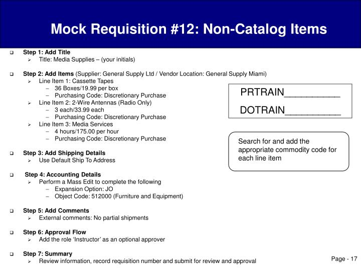 Mock Requisition #12: Non-Catalog Items