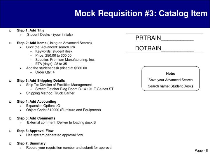 Mock Requisition #3: Catalog Item
