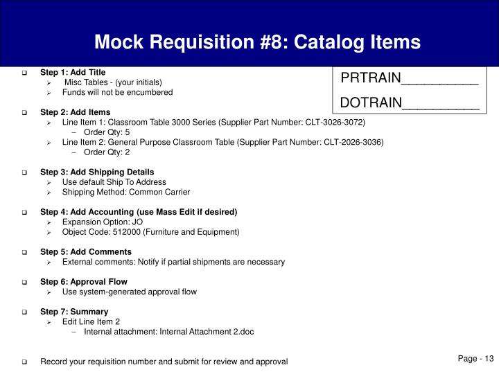 Mock Requisition #8: Catalog Items