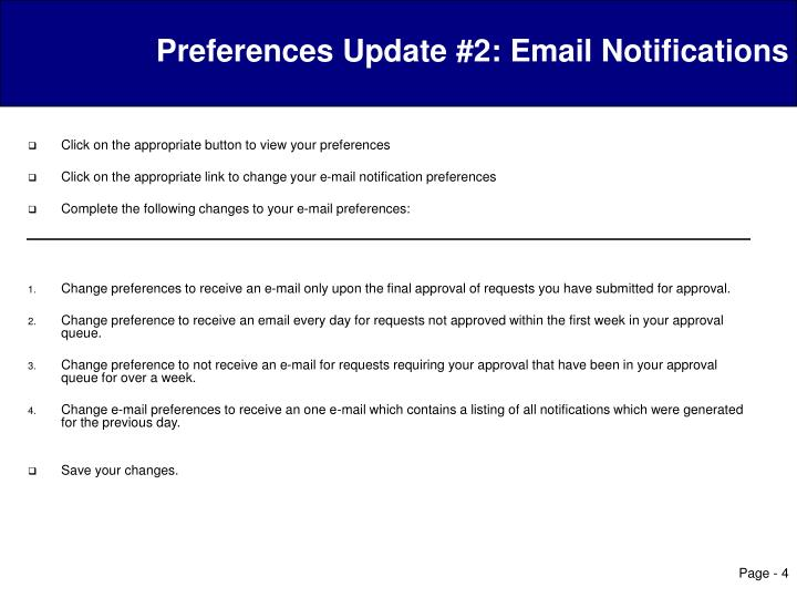 Preferences Update #2: Email Notifications