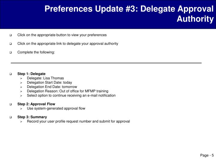 Preferences Update #3: Delegate Approval Authority