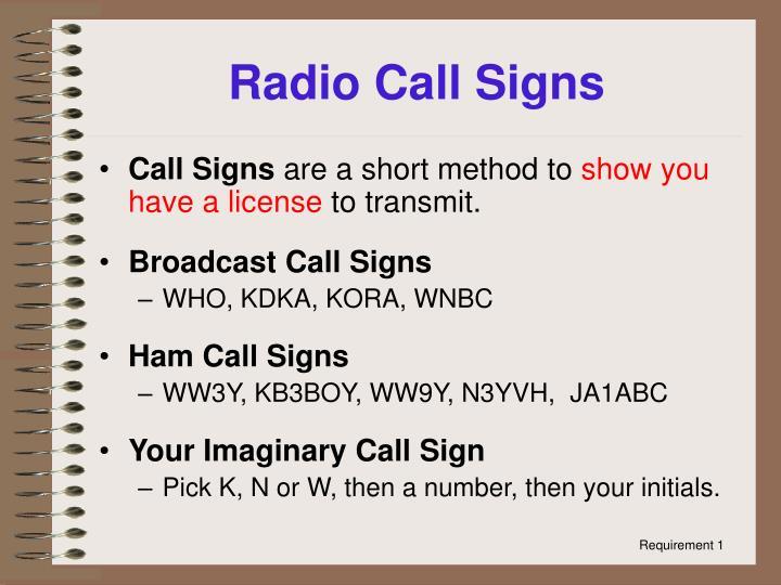 Radio Call Signs