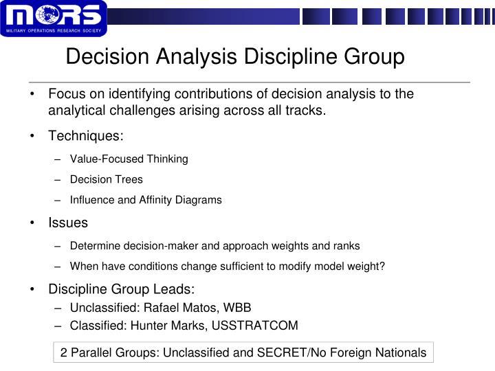 Decision Analysis Discipline Group