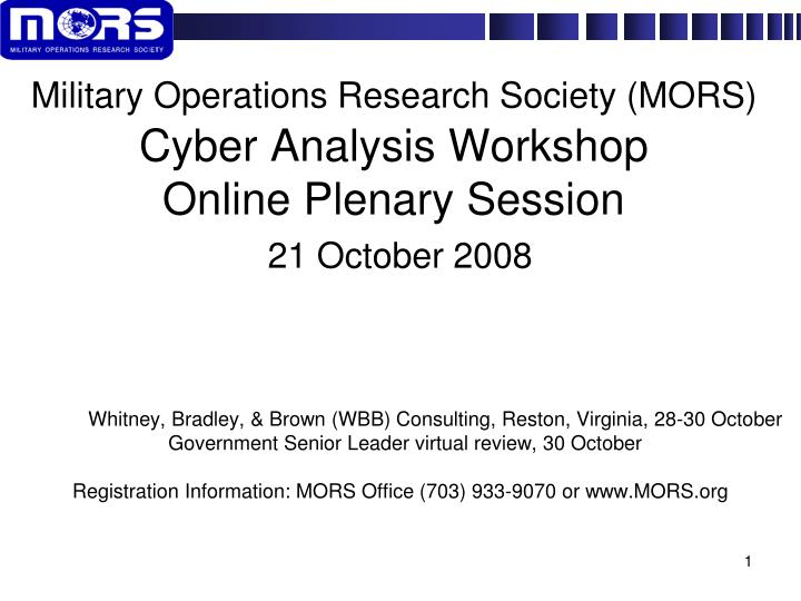 Military Operations Research Society (MORS)