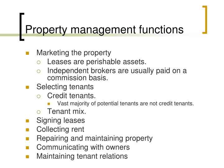 Property management functions