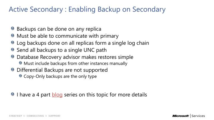 Active Secondary : Enabling Backup on Secondary
