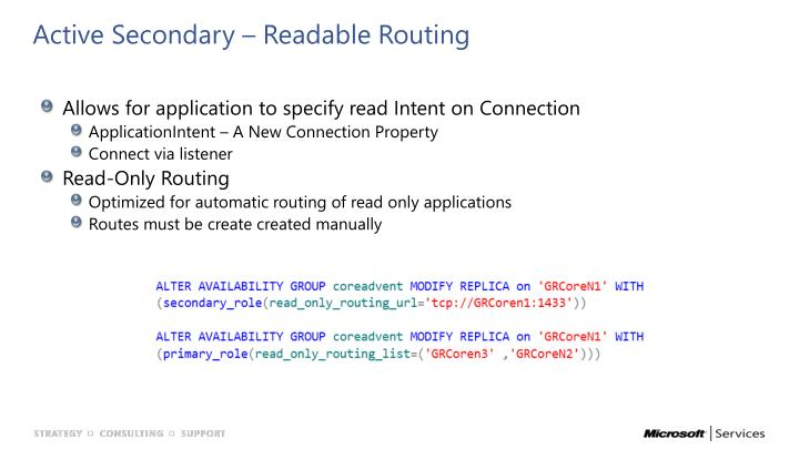Active Secondary – Readable Routing