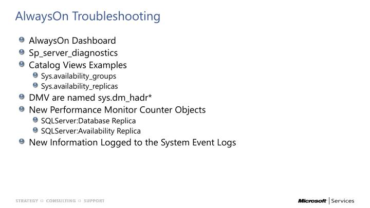 AlwaysOn Troubleshooting