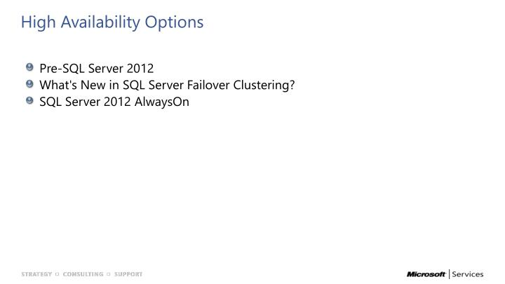 High Availability Options
