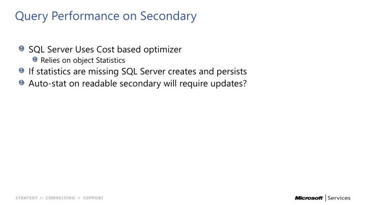 Query Performance on Secondary