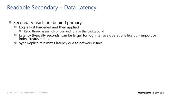 Readable Secondary – Data Latency
