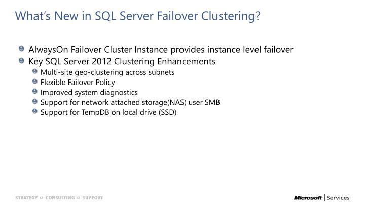What's New in SQL Server Failover Clustering?
