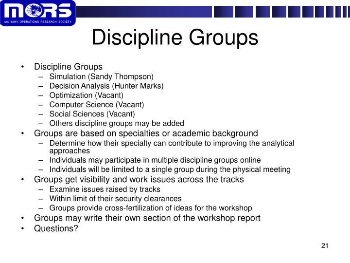 Discipline Groups