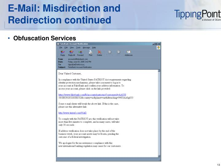 E-Mail: Misdirection and Redirection continued