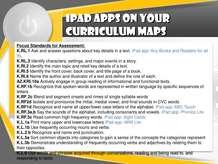 Ipad apps on your curriculum maps