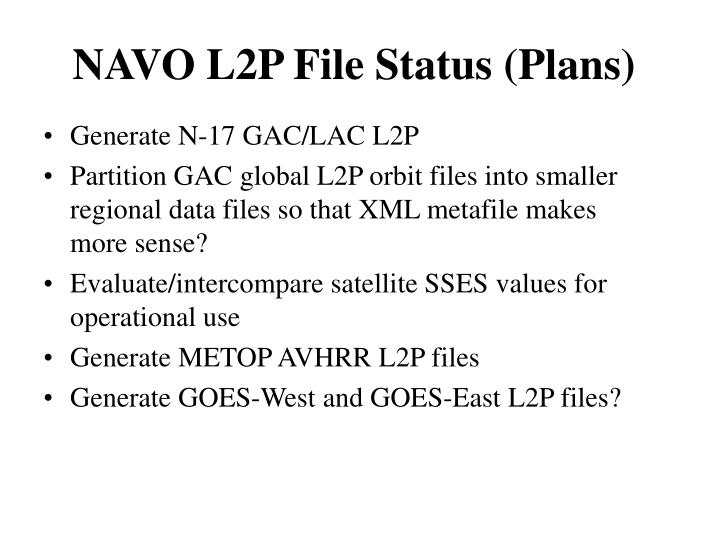 NAVO L2P File Status (Plans)