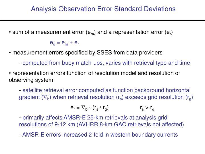 Analysis Observation Error Standard Deviations