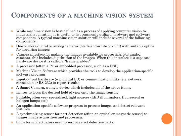 Components of a machine vision system