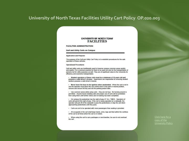 University of North Texas Facilities Utility Cart Policy  OP.020.003