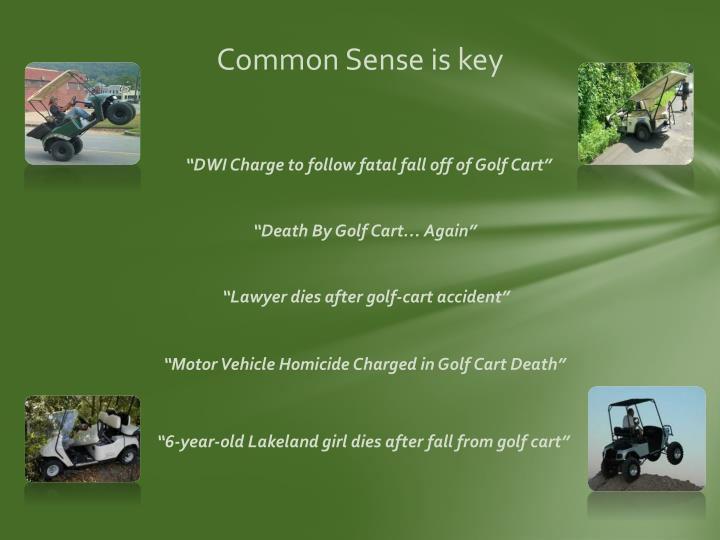 Common Sense is key