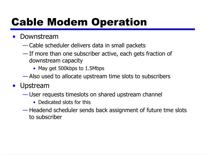 Cable Modem Operation
