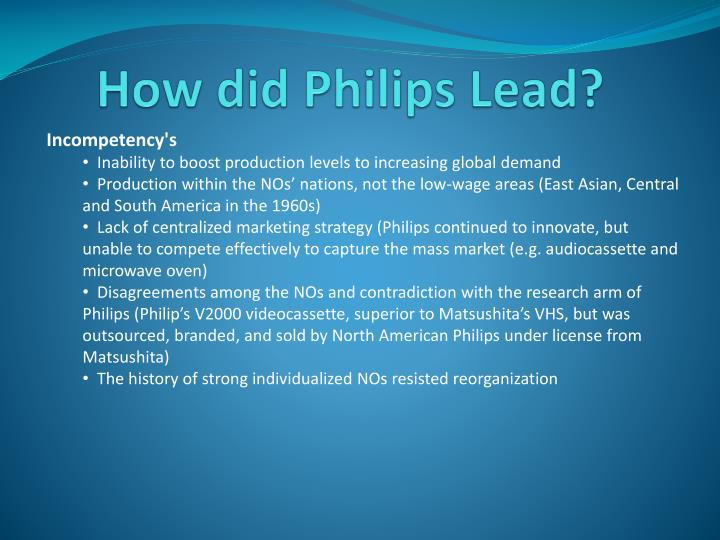 How did Philips Lead?