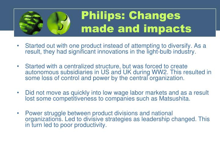 Philips: Changes made and impacts