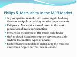 philips matsushita in the mp3 market