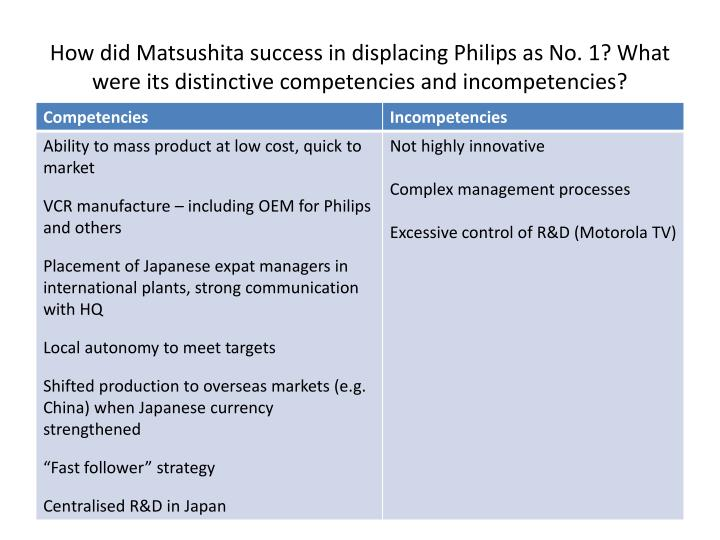 How did Matsushita success in displacing Philips as No. 1? What were its distinctive competencies and incompetencies?