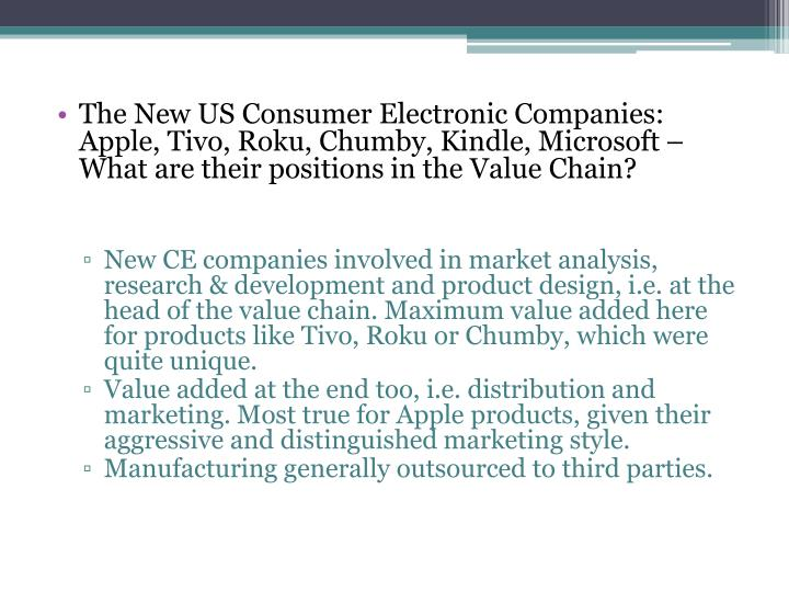The New US Consumer Electronic Companies: Apple, Tivo, Roku, Chumby, Kindle, Microsoft – What are their positions in the Value Chain?